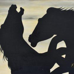 Enfrentamiento equino painting