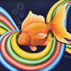 Gold Fish en movimiento painting