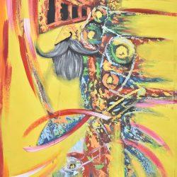 El Quijote presentando armas painting