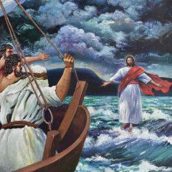 Jesús sobre las aguas painting