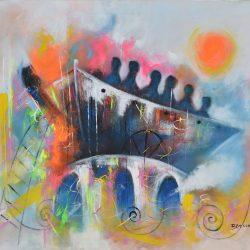 Viajeros como símbolo del tiempo painting