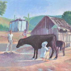 Ordeño en el campo painting