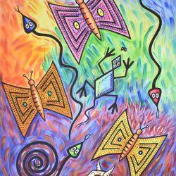 Mariposas y reptiles en la era del chivo painting