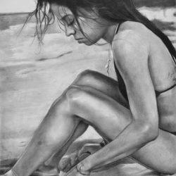 La chica en la playa painting