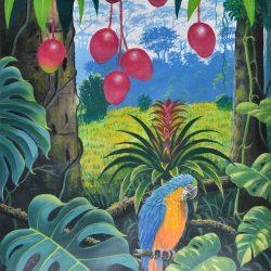 Bromelias y guacamayos painting