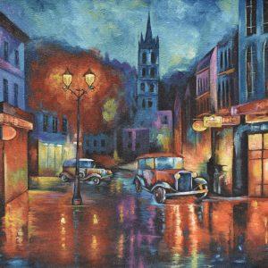 Paris de noche painting