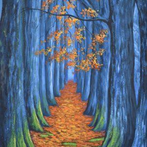 Camino en el amanecer painting