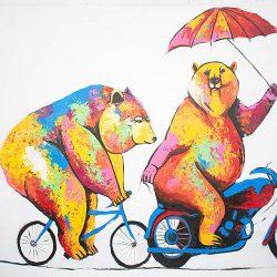 Biker Bears Painting