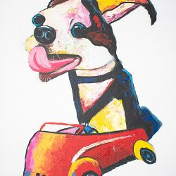 Driving Dog Painting