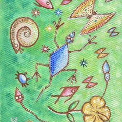 En el verde reino de la azul salamanquesa painting