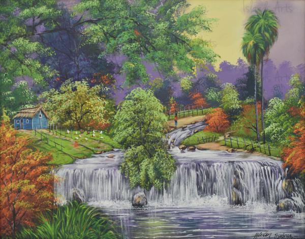 Paisaje de cascada painting