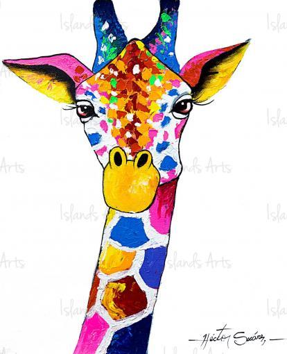 Giraffes Look Painting