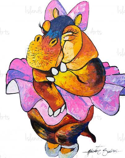 Hippopotamus Ballerina Painting