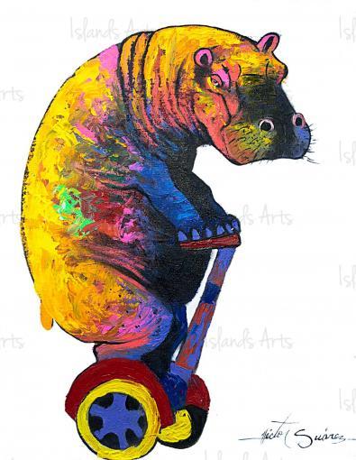 Hippopotamus Inspector Painting