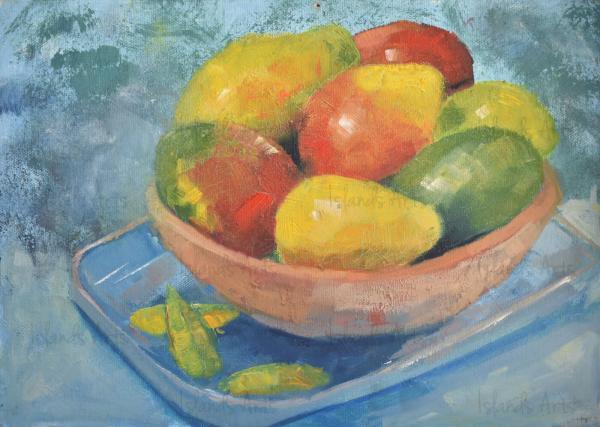 Bodegón de mangos painting